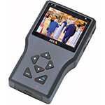 AXIS T8412 Installation Display. Battery-powered handheld device that allows live view from Axis cameras or encoders. Can also show analog video via BNC input