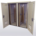 "2OD Enclosure, 84RU Total, 2 sets of Adjustable 19"" or 23"" Racking Rails w/RU Markings and Pass-through Holes, 2 Front and 2 Rear Doors, 3 Point Padlocking Handles, Heavy Duty Lifting Hooks. Climate controlled optional, SOI"
