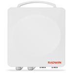 RADWIN 2000 B-Series ODU with 15 dBi integrated antenna and connectorized for external antenna (2x N-type), supporting multi frequency bands at 5.xGHz, factory default 5.8GHz FCC/IC