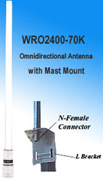 NCG SF-245R 7.4 dBi Omnidirectional Antenna with Mast Mount with N-type Female connector, 2.4-2.5GHz ISM Band