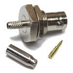 "Reverse polarity BNC-Female (male pin) connector for LMR(R)-100/RG174 1/8"" coaxial cable, SOI"
