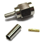 "Reverse polarity SMA-Male (female pin) connector for LMR(R)-100/RG174 1/8"" coaxial cable, SOI"