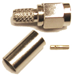 "Reverse polarity SMA-Male (female pin) connector for 58/195 3/16"" type coaxial cable, SOI"