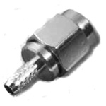 "Reverse polarity SMA-Male (female pin) connector for 200 type 3/16"" coaxial cable, SOI"
