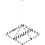"Non-Penetrating Roof Mount, 1.25"" OD x 5' Mast, SOI"